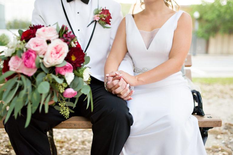 White Tux Red Rose Downtown Pensacola Florida Wedding