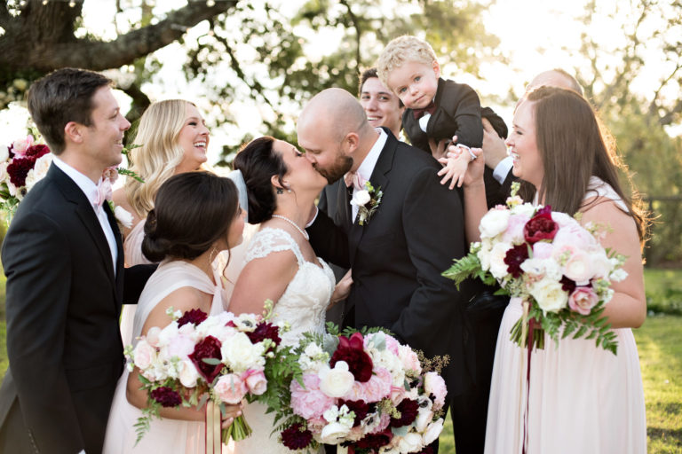 bridal party fun maroon sunlight