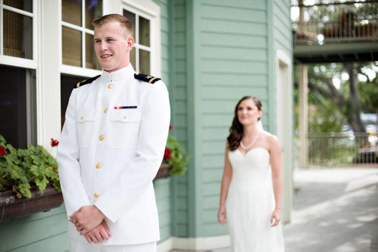 First Look Lee House Pensacola Florida Military Wedding