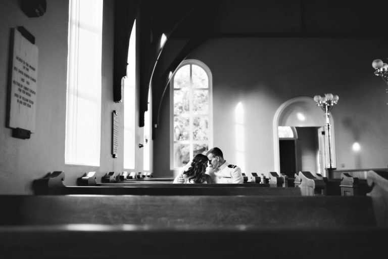Old Christ Church Bride and Groom Pensacola Florida Military Wedding