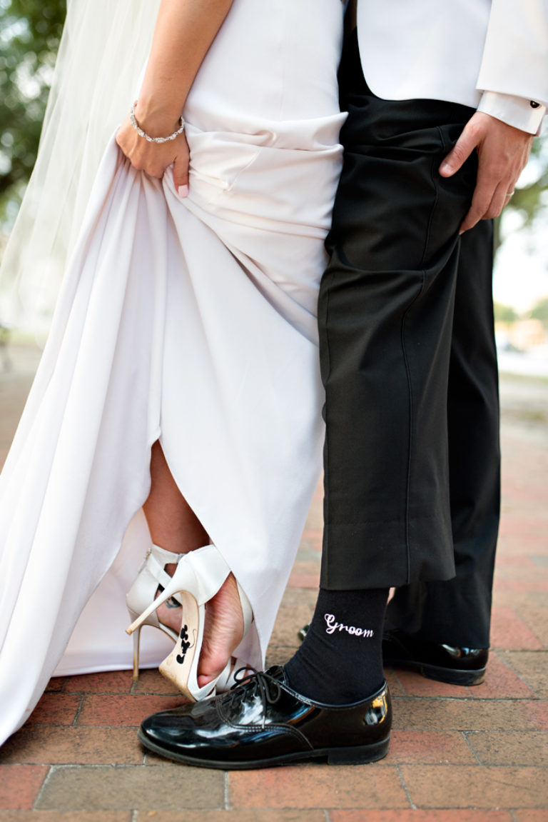 Disney shoes bride groom pensacola florida wedding downtown