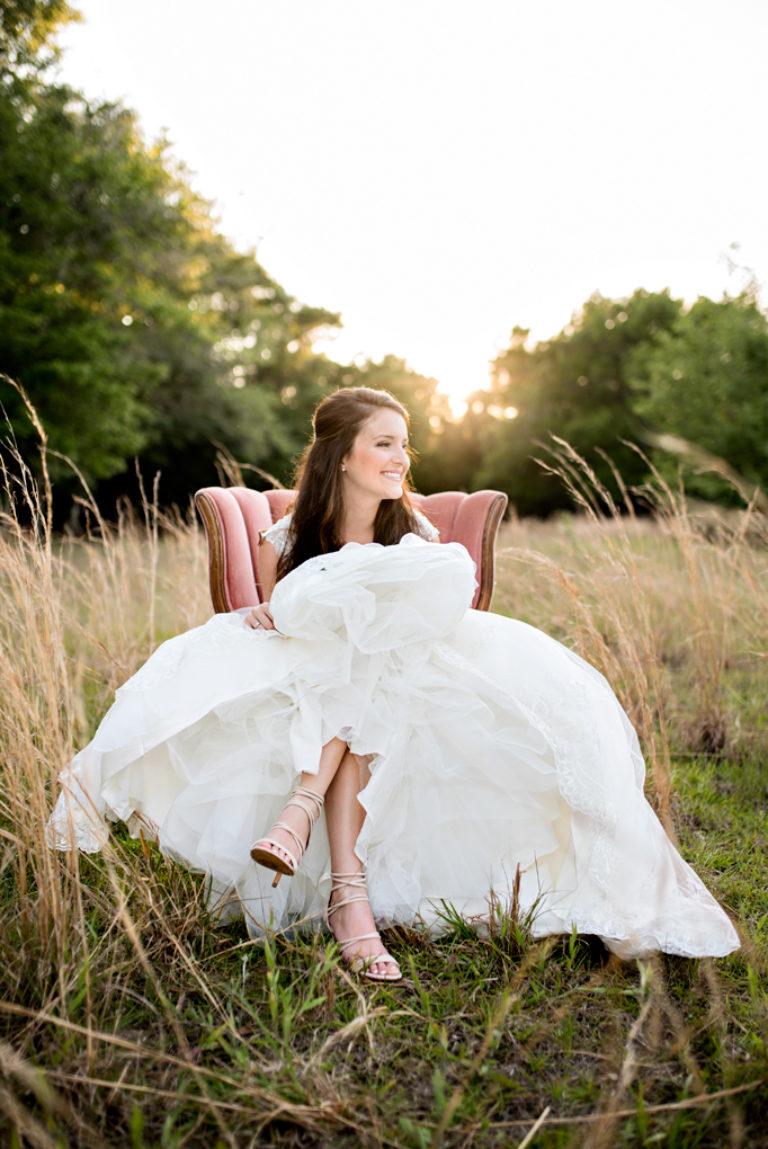 Bride Velvet Chair Sunset North Carolina Wedding