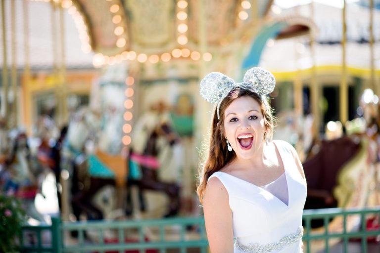 Disney World Orlando Florida Bride Carousel Mickey Mouse Ears
