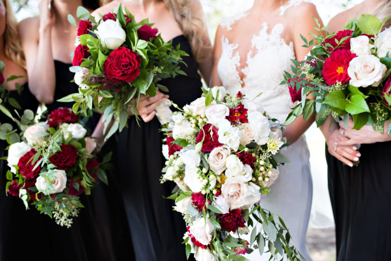 Red white roses bouquet bridesmaids