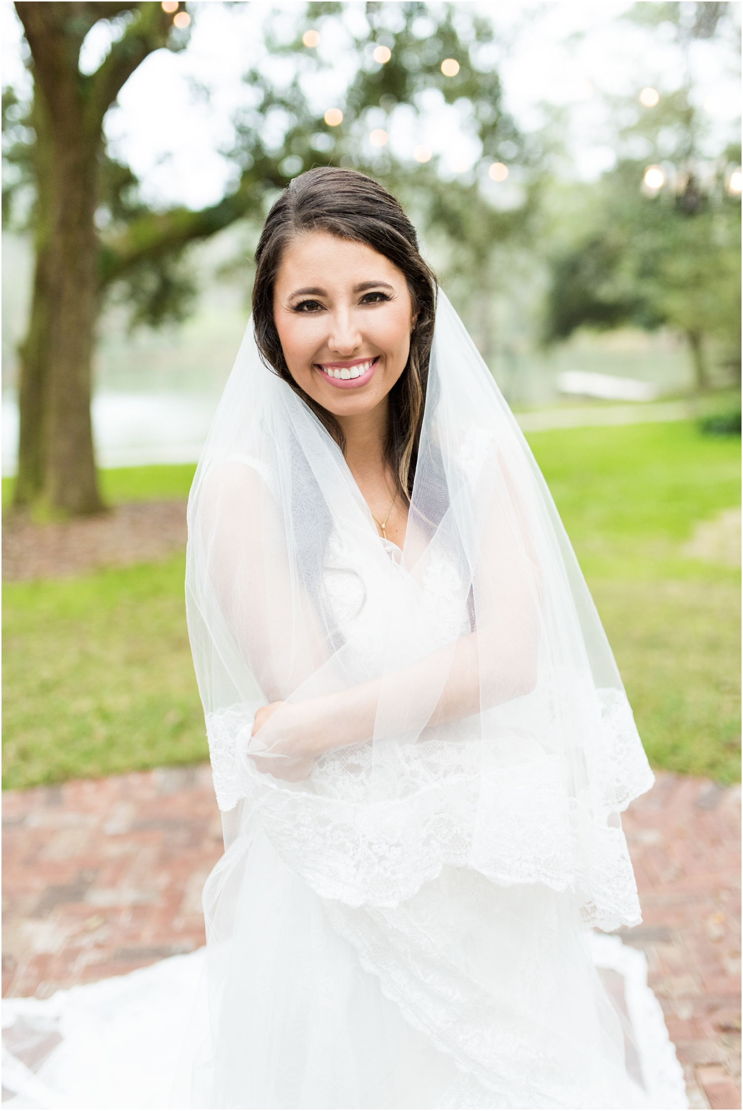 Downtown Pensacola Florida Live Oak Plantation New World Landing Wedding cathedral veil