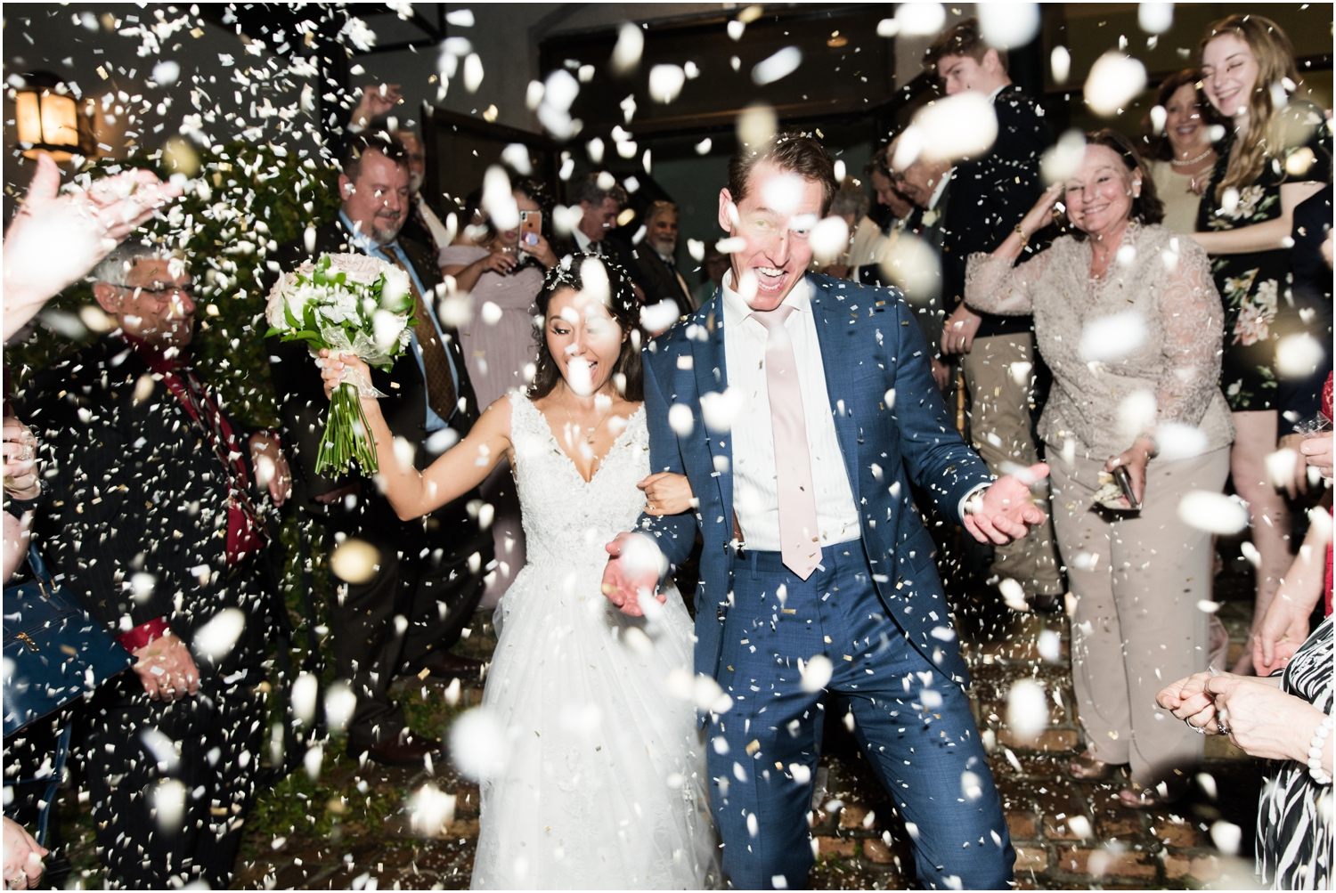 Downtown Pensacola Florida Live Oak Plantation New World Landing Wedding Reception confetti exit