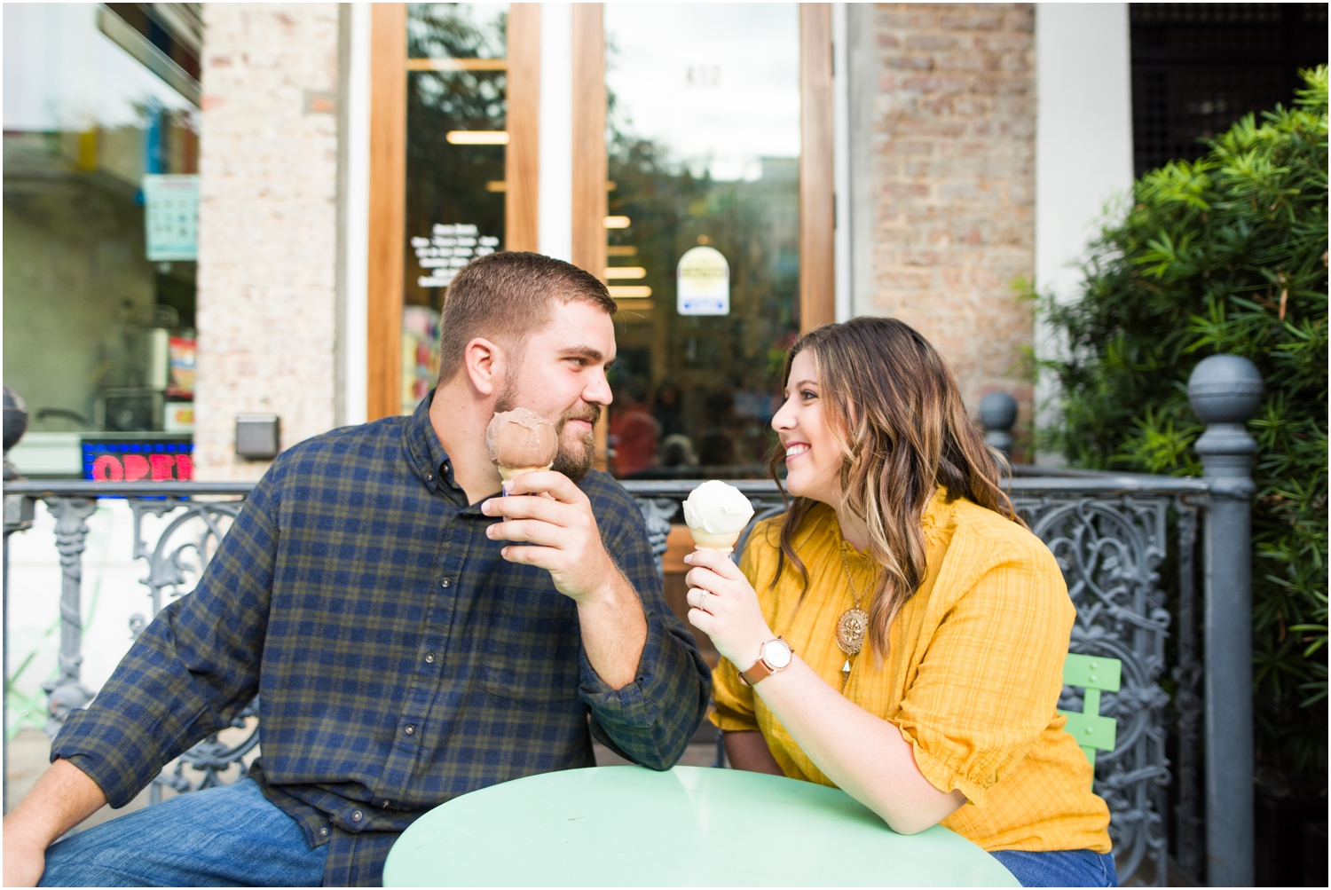 Downtown Pensacola Bubbas Sweet Spot Ice Cream Engagement Session