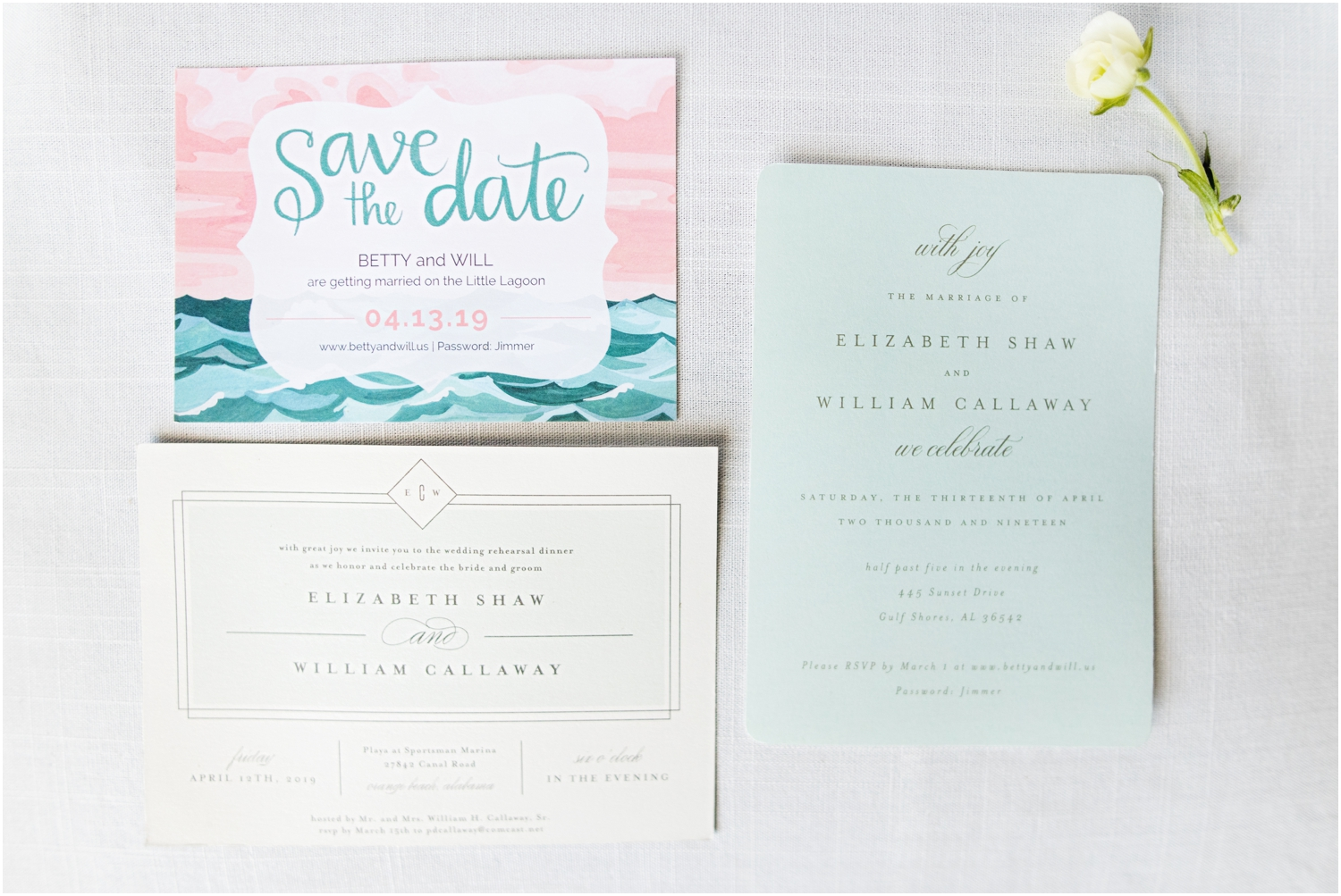 Gulf Shores Orange Beach Alabama Family Home on the Water Wedding Photographer invitation suite details