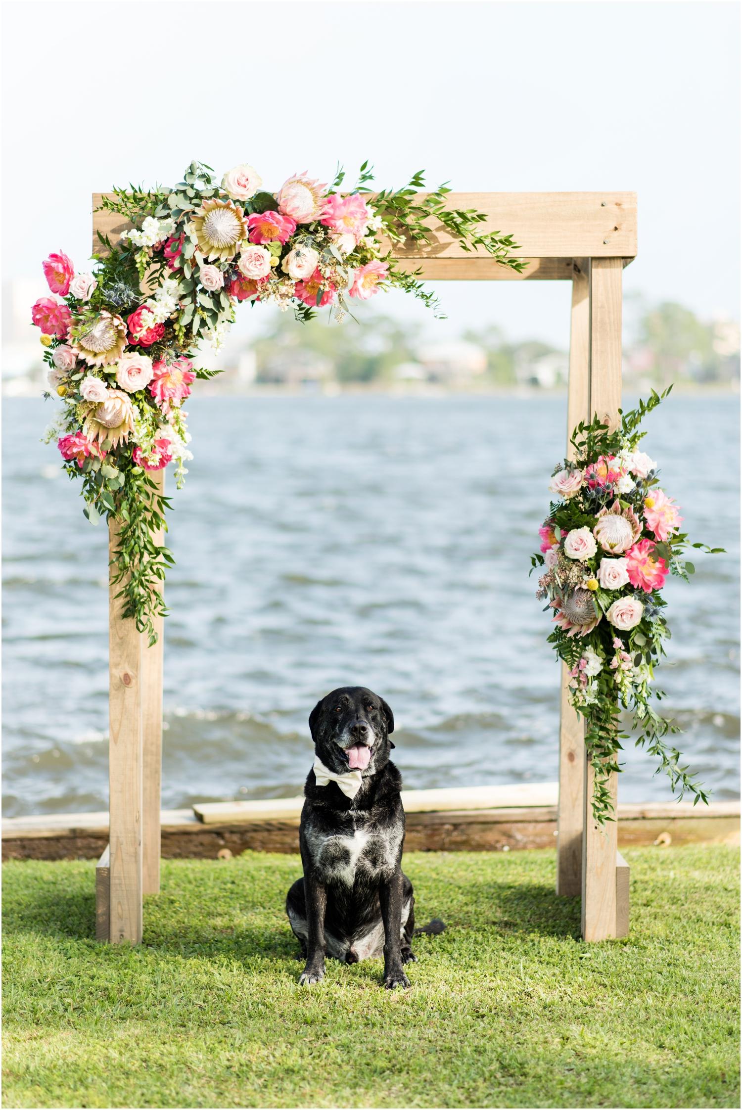 Gulf Shores Orange Beach Alabama Family Home on the Water Wedding Photographer groom dog ring bearer flower arbor