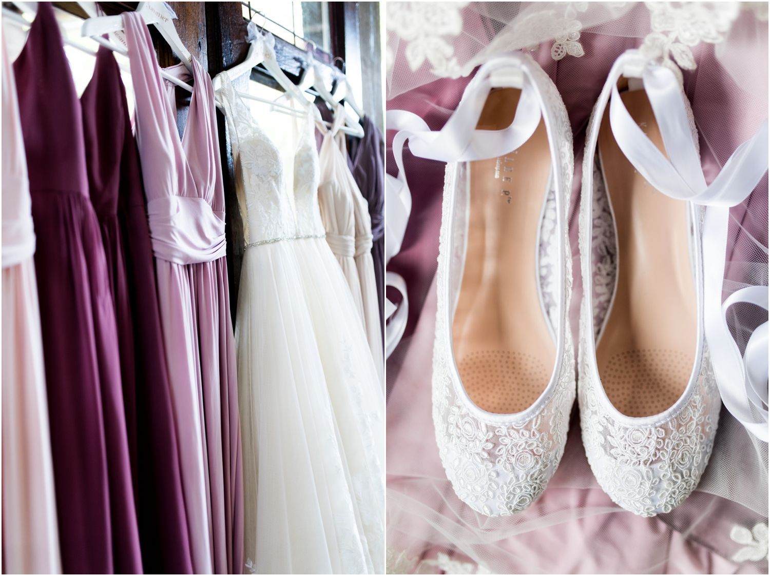 Live Oak Plantation Pensacola Florida Wedding Photographer purple bridesmaid dresses lace shoes
