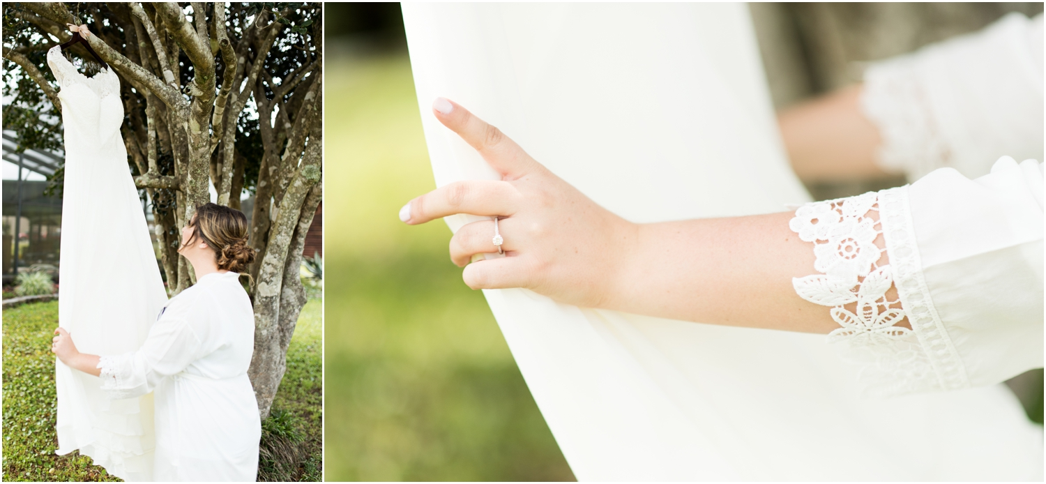 Sowell Farms Milton Florida Rustic Woodsy Barn Wedding Photographer getting ready bride gown