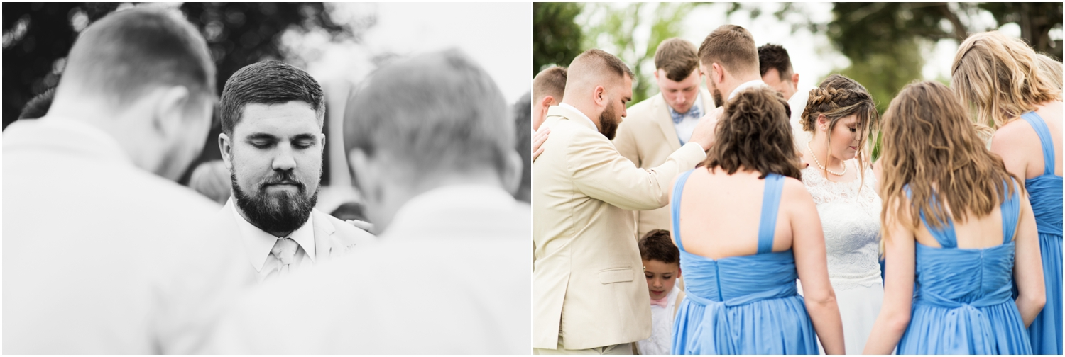 Sowell Farms Milton Florida Rustic Woodsy Barn Wedding Photographer groom groomsmen bride bridesmaids prayer first look