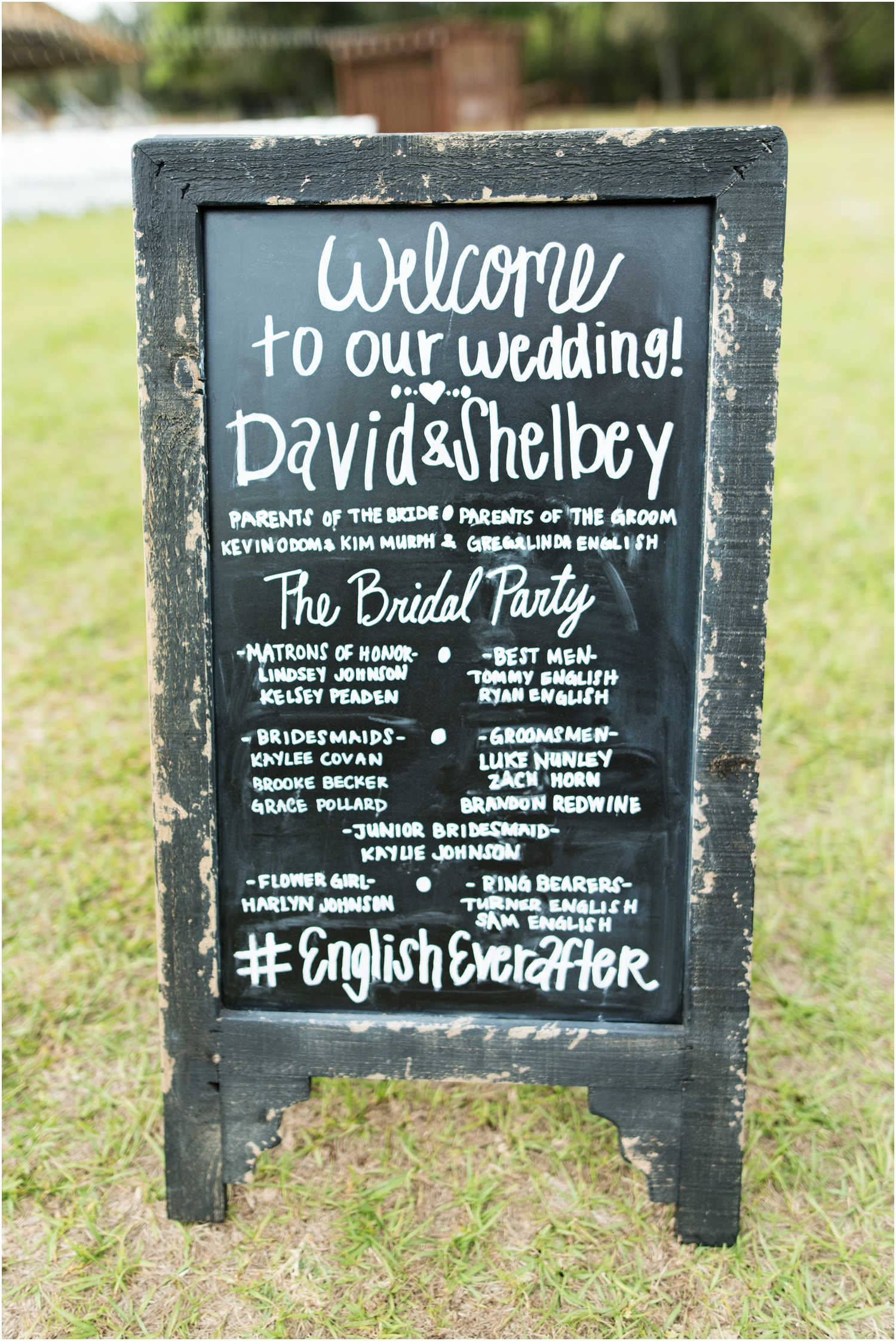 Sowell Farms Milton Florida Rustic Woodsy Barn Wedding Photographer ceremony details chalkboard