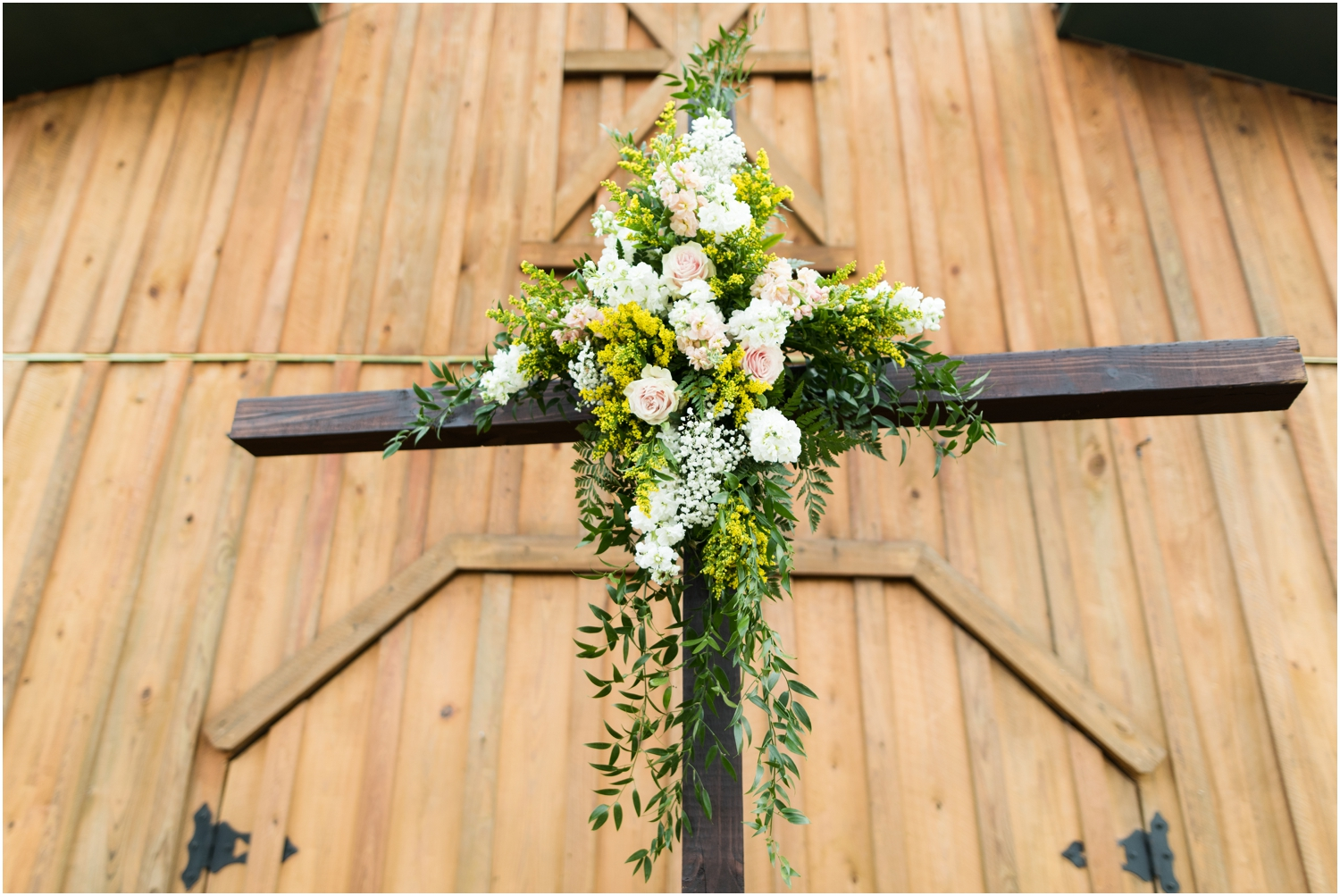 Sowell Farms Milton Florida Rustic Woodsy Barn Wedding Photographer ceremony details cross florals alter arbor