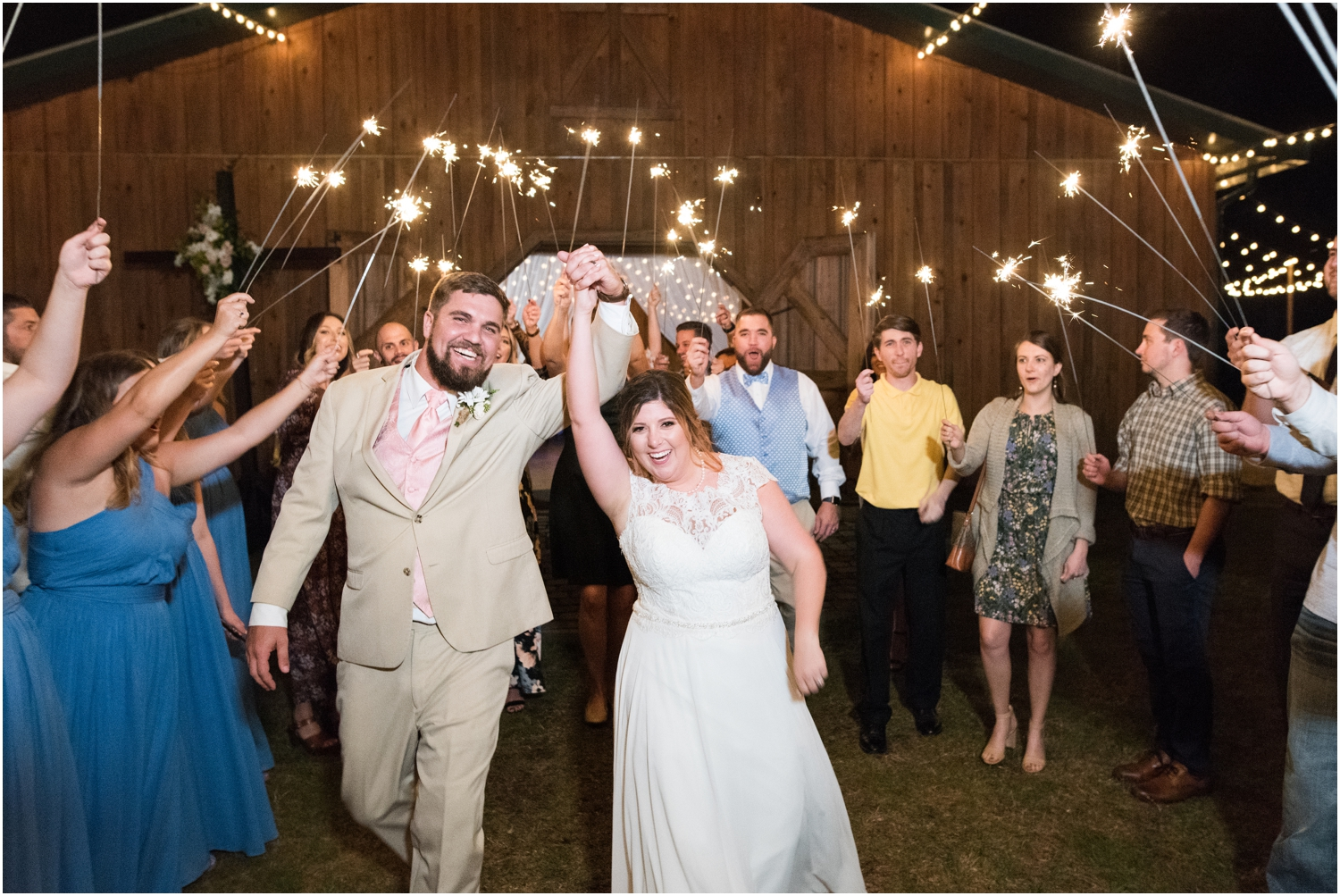 Sowell Farms Milton Florida Rustic Woodsy Barn Wedding Photographer reception barn  sparkler exit