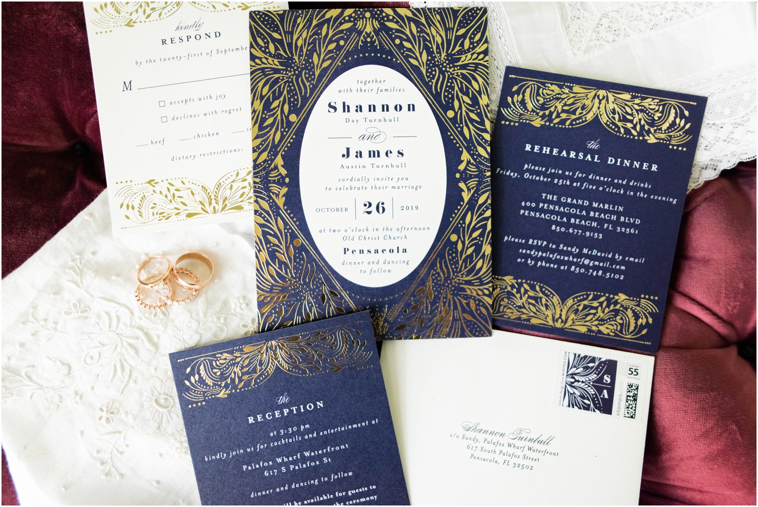 Old Christ Church Palafox Wharf Rainy Day Wedding Details Invitation