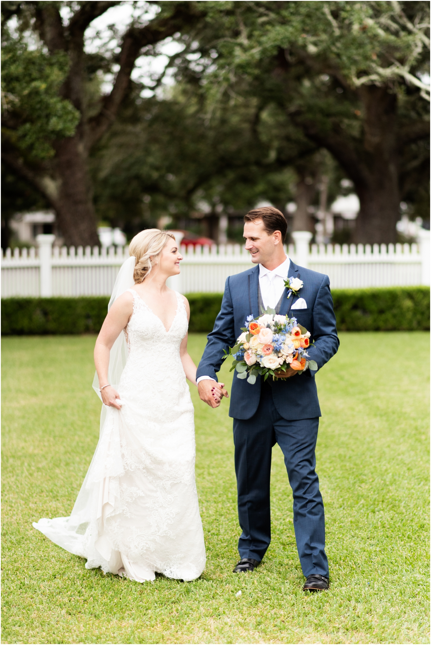 Old Christ Church Palafox Wharf Rainy Day Wedding Bride Groom Portraits Historical